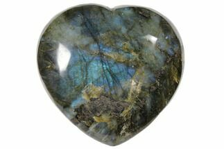 "4.5"" Flashy Polished Labradorite Heart - Madagascar For Sale, #126689"