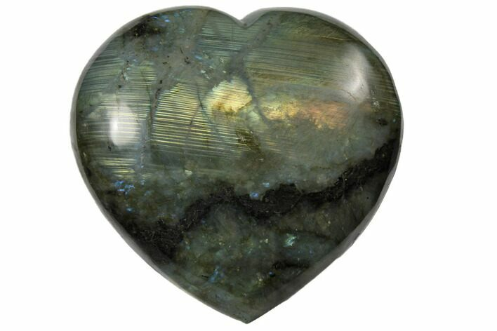 "4.5"" Flashy Polished Labradorite Heart - Madagascar"