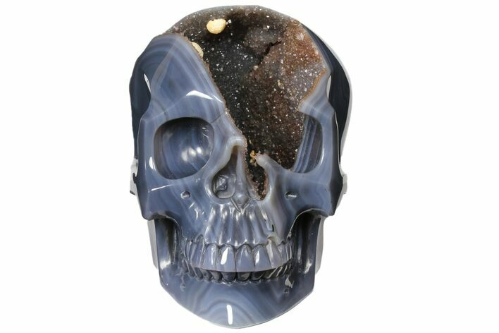 "7.7"" Hollow Carved Agate Geode Skull - Incredible! (Sale Price)"