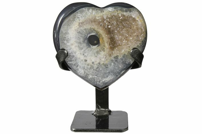 "5"" Quartz Crystal & Agate Heart with Metal Stand - Uruguay"