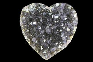 "1"" Amethyst Crystal Cluster Heart - Uruguay For Sale, #128681"