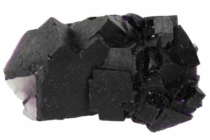 "1.9"" Dark Purple Cubic Fluorite Crystal Cluster - China"