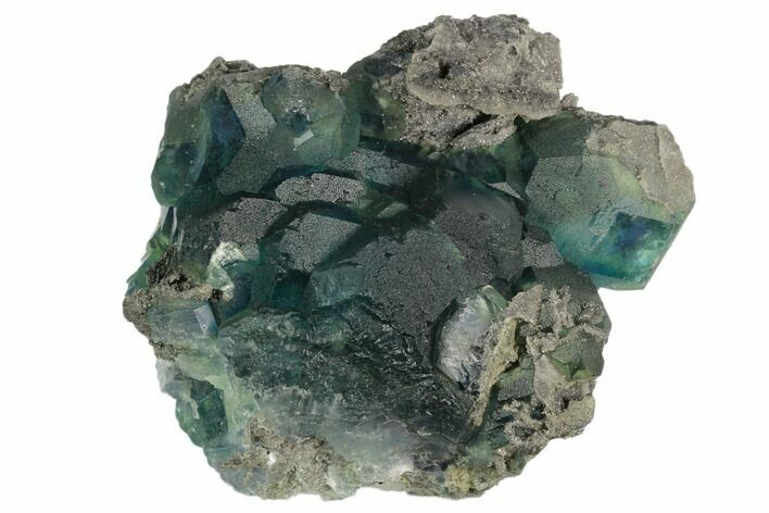 "4.4"" Large Blue-Green Fluorite Crystals on Sparkling Quartz - China"