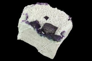 "Buy 2.2"" Purple, Octahedral Fluorite Crystals on Quartz - China - #128929"