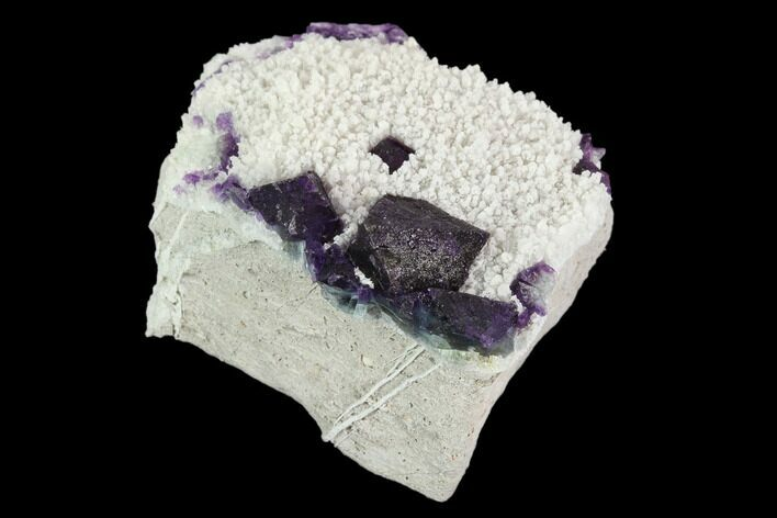 "2.2"" Purple, Octahedral Fluorite Crystals on Quartz - China"