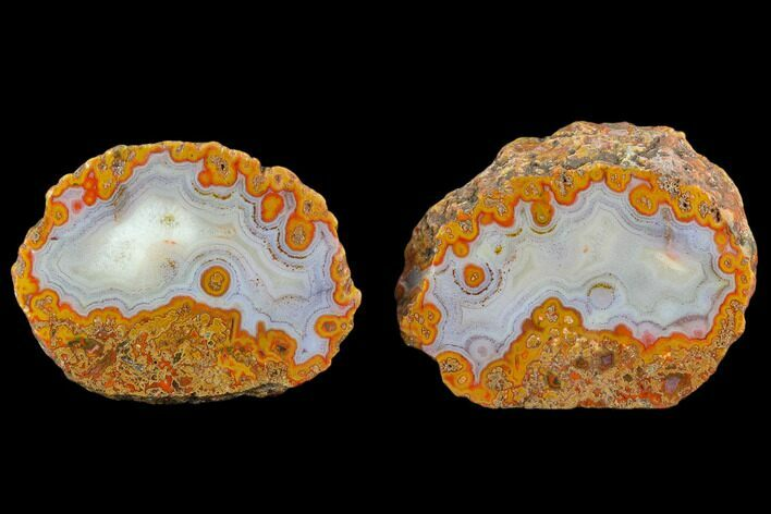 "4"" Polished Plume Agate Nodule (Pair) - Karouchen, Morocco"