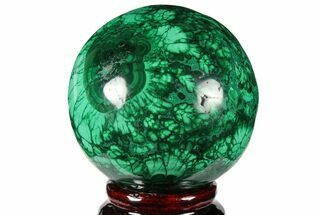 "Buy 2.35"" Flowery, Polished Malachite Sphere - Congo - #131818"