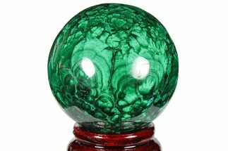 "Buy 2.25"" Flowery, Polished Malachite Sphere - Congo - #131830"