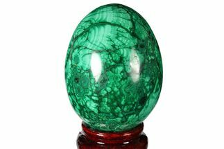 "Buy 2.8"" Flowery, Polished Malachite Egg - Congo - #131851"