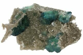"4"" Cubic, Blue-Green Fluorite Crystals on Quartz - China For Sale, #132740"