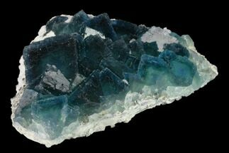 "3.8"" Cubic, Blue-Green Fluorite Crystals on Quartz - China For Sale, #132770"