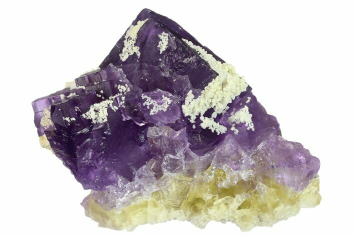 "4.1"" Purple-Yellow Fluorite & Bladed Barite - Cave-in-Rock, Illinois"