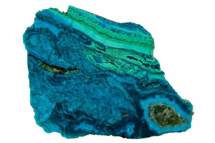 "3.1"" Polished Chrysocolla & Plume Malachite - Bagdad Mine, Arizona"