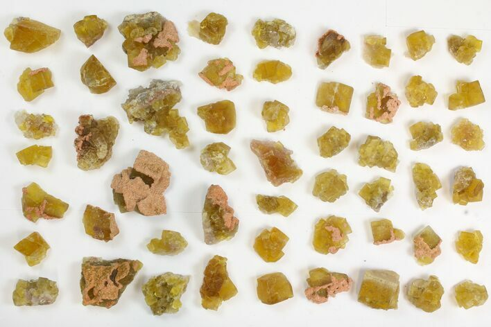 "Lot: .75 to 1.5"" Yellow Fluorite Crystals - 55 Pieces"