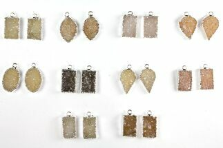 Lot: Druzy Quartz Pendants/Earrings - 10 Pairs For Sale, #140828