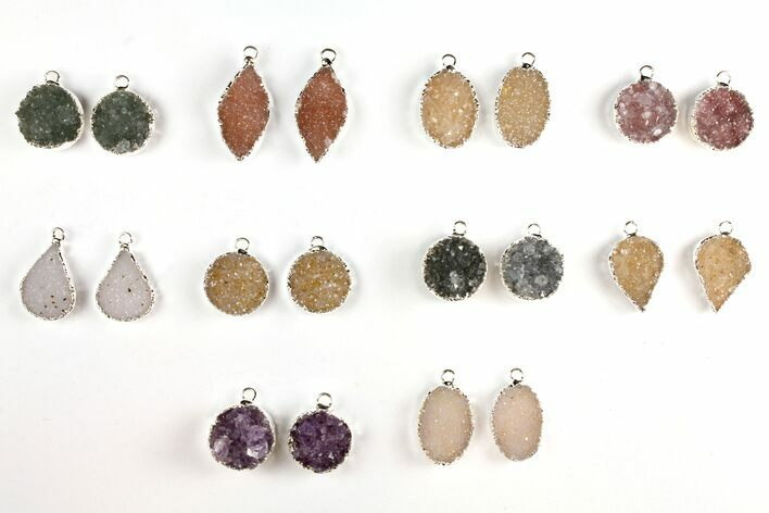 Wholesale Lot: Druzy Quartz Pendants/Earrings - 10 Pairs