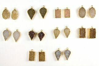 Wholesale Lot: Druzy Quartz Pendants/Earrings - 10 Pairs For Sale, #140834
