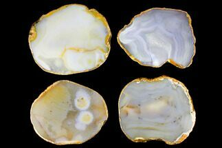 Buy Four Polished Brazilian Agate Coasters - Gold Electroplated Edges - #147790