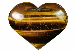 "3.1"" Polished Tiger's Eye Heart For Sale, #148742"