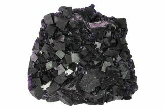 "4.1"" Dark Purple Cubic Fluorite Crystal Cluster - China For Sale, #149297"