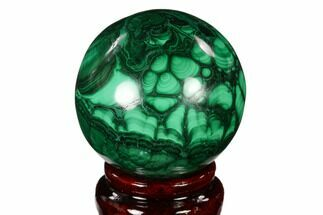 "Buy 2.1"" Flowery, Polished Malachite Sphere - Congo - #150229"