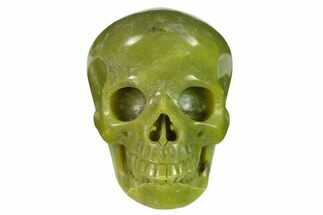 "3"" Realistic, Polished Jade (Nephrite) Skull For Sale, #151127"