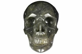 "7"" Carved, Grey Smoky Quartz Crystal Skull For Sale, #151211"