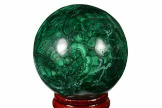 "1.9"" Flowery, Polished Malachite Sphere - Congo For Sale, #164486"