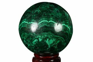 "Buy 2.9"" Flowery, Polished Malachite Sphere - Congo - #164497"