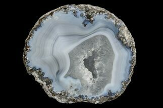 "Buy 2.6"" Las Choyas ""Coconut"" Geode Half with Blue Agate & Quartz - Mexico - #165547"
