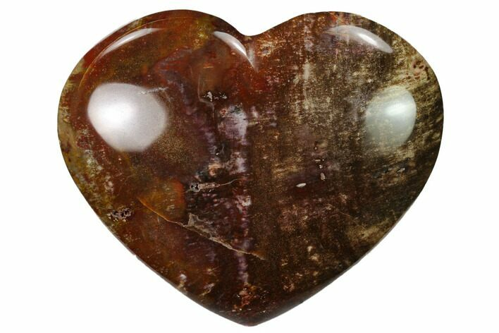 "3.8"" Polished Triassic Petrified Wood Heart - Madagascar"