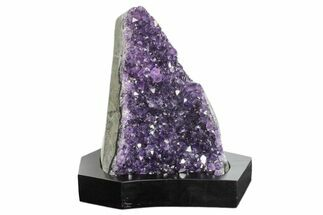 "6.4"" Tall, Dark Purple Amethyst Cluster With Wood Base  - Uruguay For Sale, #171743"