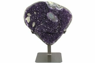 "13.9"" Amethyst Geode Section on Metal Stand - Deep Purple Crystals For Sale, #171818"