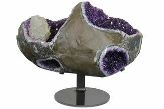 "14.3"" Unique Amethyst Geode with Calcite on Metal Stand - Uruguay For Sale, #171899"