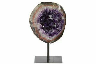 "7"" Amethyst Geode Section on Metal Stand - Dark Purple Crystals For Sale, #171881"
