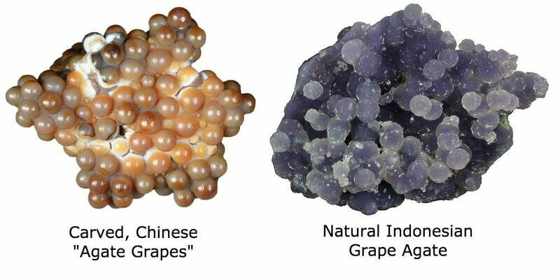 Carved, Chinese agate grapes vs natural grape agate.