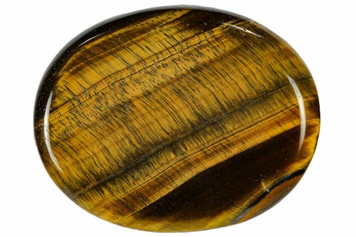 "Polished Tiger's Eye Worry Stones - 2"" Size - Photo 1"