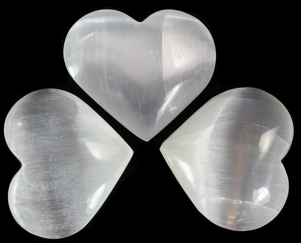 "2"" Polished Selenite Hearts  - Photo 1"