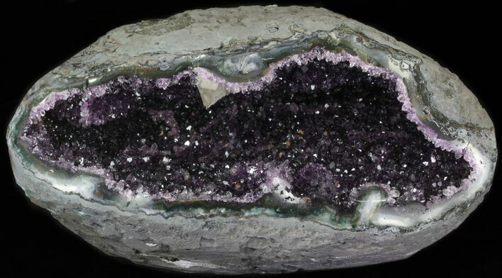 "7.9"" Purple Amethyst Geode With Calcite Crystals"