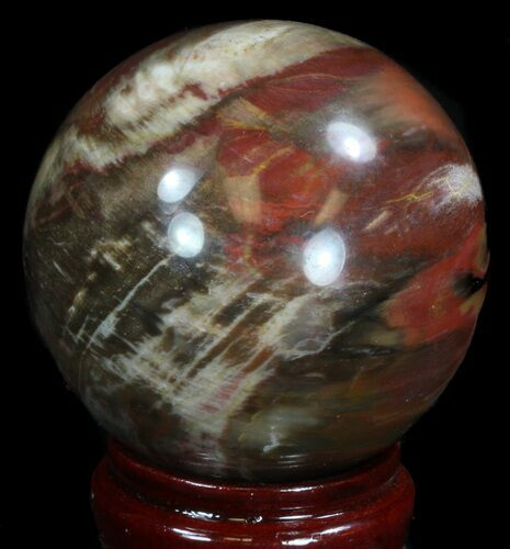 "3.05"" Colorful Petrified Wood Sphere"