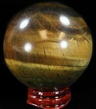 "Top Quality 2.3"" Polished Tiger Iron (Tiger's Eye) Sphere For Sale, #37685"