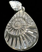 Pyrite Ammonite Fossil Pendant - Sterling Silver For Sale, #37967