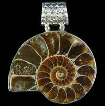 Ammonite Fossil Pendant - Sterling Silver For Sale, #38051
