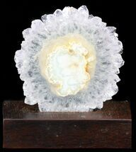 "3.4"" Amethyst Stalactite Slice With Wood Base For Sale, #40943"