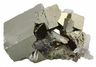 "Buy 1.9"" Cubic Pyrite Cluster With Quartz Crystals - Peru  - #46093"