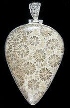 20 Million Year Old Fossil Coral Pendant - Sterling Silver For Sale, #48506