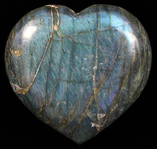 "3.3"" Flashy Polished Labradorite Heart - Brilliant Blue!"