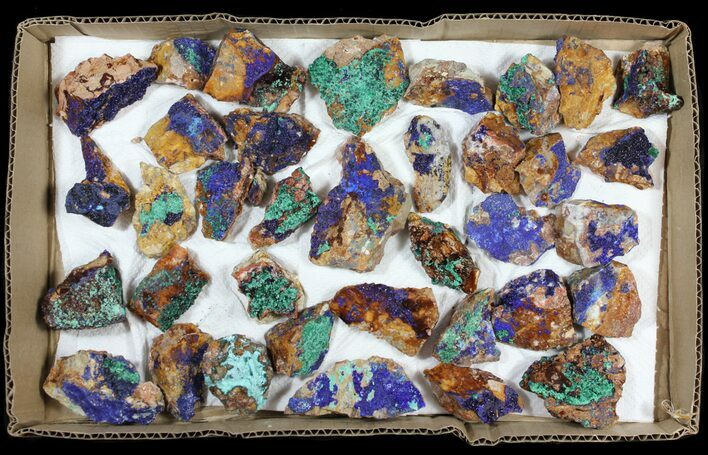 Sparkling, Drusy Azurite & Malachite Wholesale Lot -35 Pieces