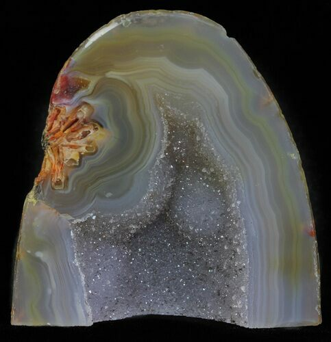 "2.9"" Polished Brazilian Agate Standup - Druzy Quartz"