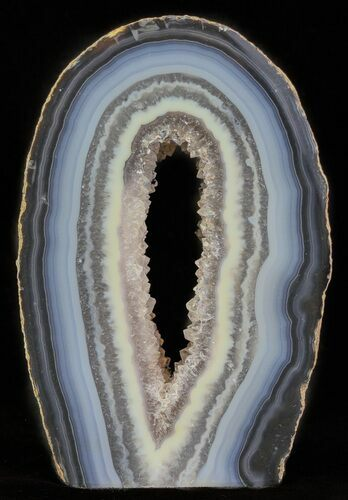 "3.7"" Polished Brazilian Agate Standup - Druzy Quartz"